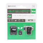 Platinet 16GB MicroSDHC + card reader + otg + adapter mémoire flash 16 Go MicroSD