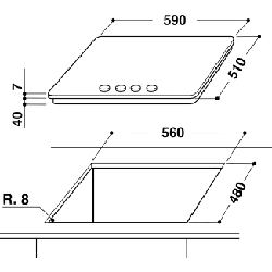 Whirlpool GMA 6422/IXL plaque Acier inoxydable Intégré (placement) Gaz 4 zone(s)